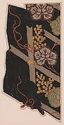 Pieces from a Robe (Kosode) with Pattern of Grapevine and Fence