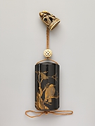 Inrō with Owl and Crows in Tree