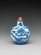 Snuff Bottle with Dragon Chasing a Flaming Pearl