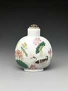 Snuff Bottle with Scene of a Lotus Pond