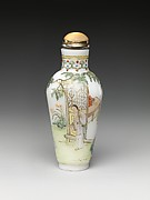 Snuff Bottle with Figures in a Garden