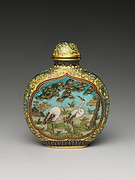 Snuff Bottle with Cranes under a Pine Tree