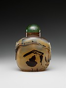 Snuff bottle with gourd on a trellis