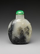 Snuff bottle with artist Mi Fu bowing to a rock