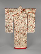 Over Robe (Uchikake) with Long-Tailed Birds in a Landscape