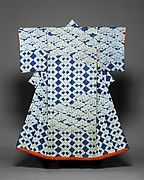 Kosode with Design of Pines and Interlocking Squares