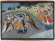 Krishna Subduing Kaliya, the Snake Demon: Folio from a Bhagavata Purana Series