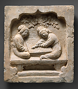 Tile with Women Playing a Board Game