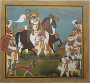 Maharana Bhim Singh and Retinue Embark on a Hunt