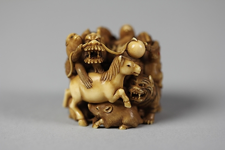 Netsuke of Group of Animals
