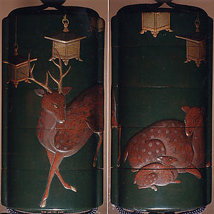 Case (Inrō) with Design of Deer and Lanterns at Kasuga Shrine