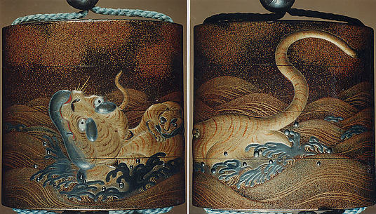 Case (Inrō) with Design of Tigers Swimming