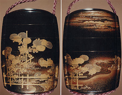 Case (Inrō) with Design of Chrysanthemums by a Stream