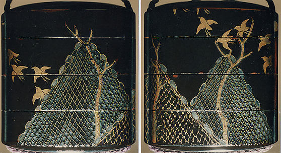 Case (Inrō) with Design of Fishing Nets and Chidori in Flight