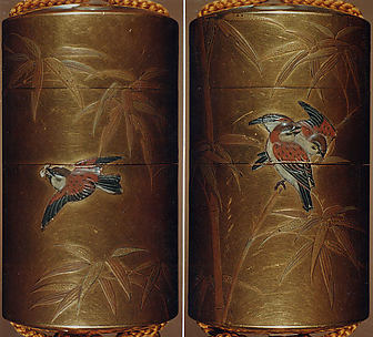 Case (Inrō) with Design of Sparrows among Bamboo