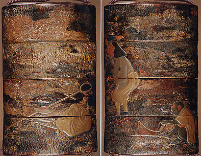 Case (Inrō) with Design of Monkey Trainer and Seated Monkey on Leash (obverse); Bundle, Hat, Sticks and Staff (reverse)