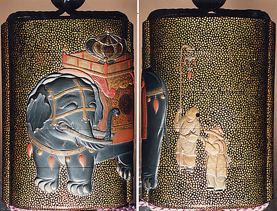Case (Inrō) with Design of Caparisoned Elephant Standing (obverse); Two Karako with Trumpet, Banner (reverse)