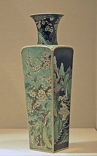 Vase with Alternating Landscape and Floral Scenes