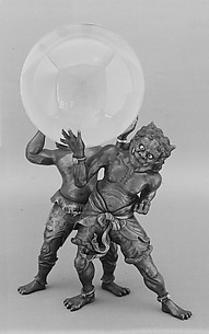 Crystal Ball on a Bronze Stand composed of Two Demons