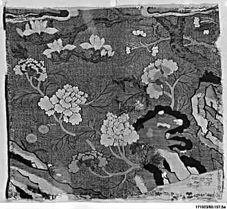 Panel with Peonies and Rocks