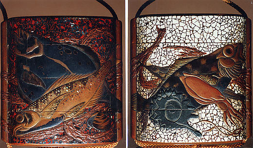 Case (Inrō) with Design of Various Fishes, Squid and Shells