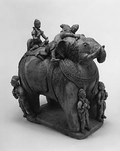 Elephant with Three Riders and Two attendants