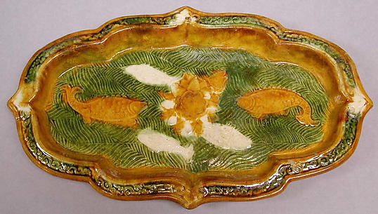 Oblong Dish with Foliate Rim