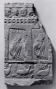 Tile with Impressed Figures of Emaciated Ascetics and Couples behind Balconies and Ganders