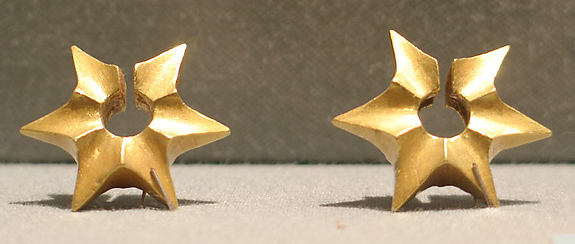 Pair of Ear Clips in the Shape of a Starfruit