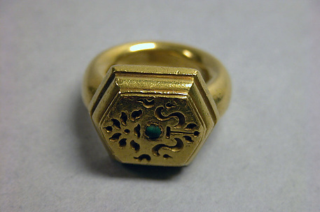 Ring with Hexagonal Bezel and Stone with