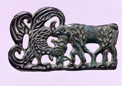 Belt Buckle with Raptor Attacking a Goat