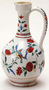 Ewer with Strap Handle and Floral Decoration