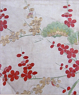 Piece from a Kosode with Pine Bough and Blossoming Plum