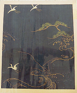Piece from a Kosode with Cranes, Pines, and Waves