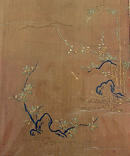 Piece from a Kosode with Pine, Bamboo, Blossoming Plum, and Mandarin Orange Tree