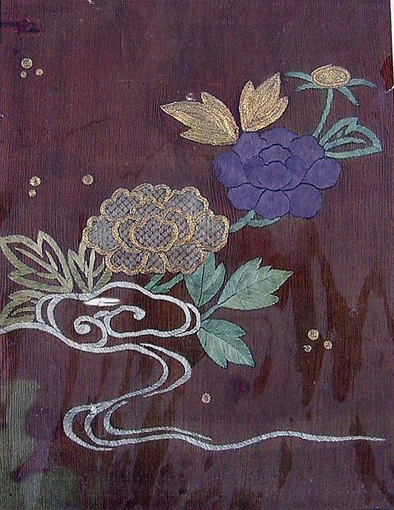 Piece from a Kosode with Peonies and Stream