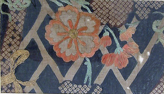 Piece from a Summer Kosode (katabira) with Flowering Vine and Cypress Fence