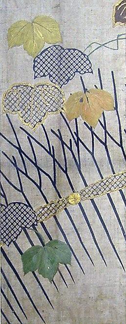 Piece from a Summer Kosode (katabira) with Ivy and Garden Fence