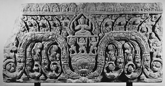 Carved Lintel with Three-Headed Buddha