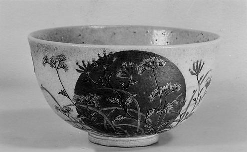 Tea Bowl with Design of Moon and Autumn Grasses