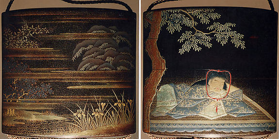 Case (Inrō) with Design of Young Man Lu's Dream (obverse); Cherry Tree and Irises Beside Water (reverse)