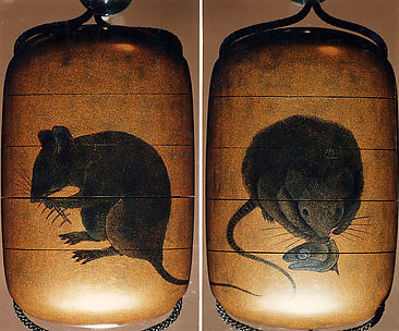 Case (Inrō) with Design of Two Rats Eating Fish Head and Bones