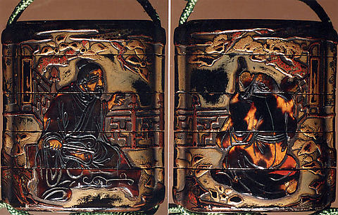 Case (Inrō) with Design of Sages Seated on Verandah, One holding a Fan