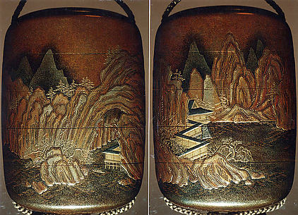 Case (Inrō) with Design of Chinese-Style Mountain Landscape with Buildings beside Rocks