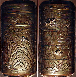 Case (Inrō) with Design of Shishi Dog Throwing its Young from Rocks (obverse); Shishi Dog Climbing up a Cliff (reverse)