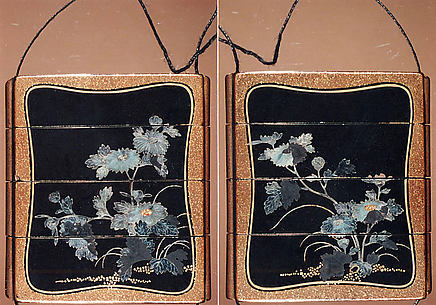 Case (Inrō) with Design of Flowering Chrysanthemums with Brocade Borders