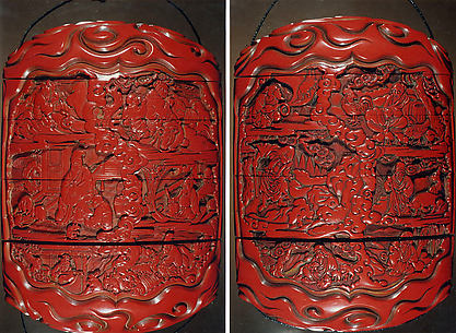 Case (Inrō) with Design of Zodiac Animals beside Chinese Sages and Scrolls