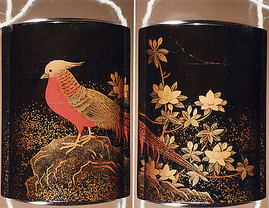 Case (Inrō) with Design of Pheasant on Rocks beside Flowering Azalea