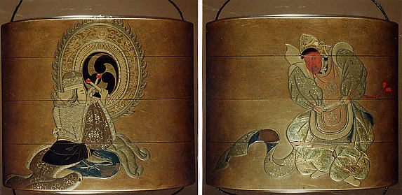 Case (Inrō) with Design of Bugaku Dancer in Red Mask (obverse); Drummer Playing Temple Drum (reverse)