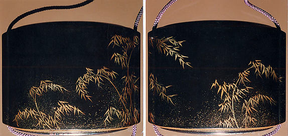 Case (Inrō) with Design of Bamboo and Rooster with Hen